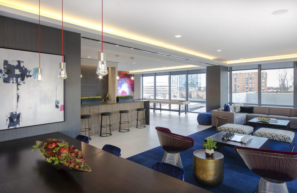 Back on the residential front fitzgeralds team has put the finishing touches on the interiors at the emerson a mixed use transit oriented development in